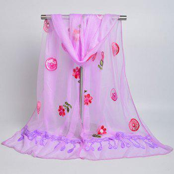 Flower Embroidered Tassel Lace Panel Shawl Scarf - SUEDE ROSE