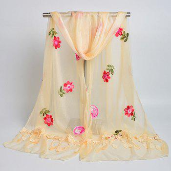 Flower Embroidered Tassel Lace Panel Shawl Scarf -  LIGHT YELLOW