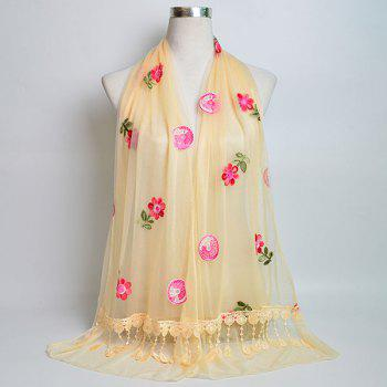 Flower Embroidered Tassel Lace Panel Shawl Scarf - LIGHT YELLOW LIGHT YELLOW