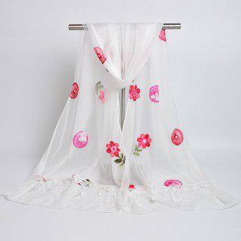 Flower Embroidered Tassel Lace Panel Shawl Scarf -  WHITE