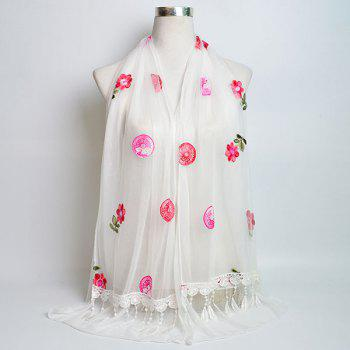 Flower Embroidered Tassel Lace Panel Shawl Scarf - WHITE WHITE