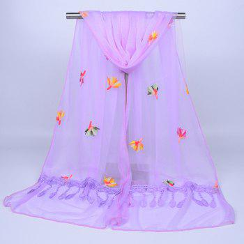 Dandelion Embroidered Lace Tassel Shawl Scarf -  LIGHT PURPLE