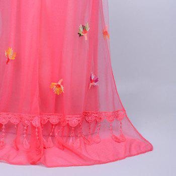 Dandelion Embroidered Lace Tassel Shawl Scarf -  WATERMELON RED