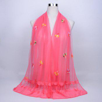 Dandelion Embroidered Lace Tassel Shawl Scarf - WATERMELON RED WATERMELON RED