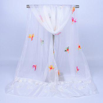 Dandelion Embroidered Lace Tassel Shawl Scarf -  WHITE