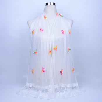Dandelion Embroidered Lace Tassel Shawl Scarf - WHITE WHITE
