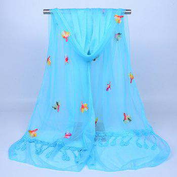 Dandelion Embroidered Lace Tassel Shawl Scarf -  AZURE