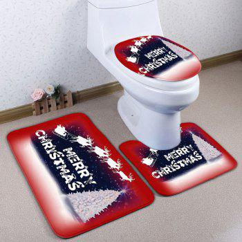 Christmas Sled Tree 3PCS Bath Toilet Mats Set - RED RED