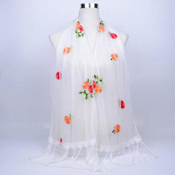Vintage Floral Embroidery Lace Tassel Shawl Scarf - WHITE WHITE