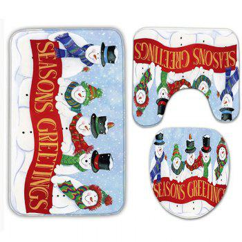 3Pcs Christmas Snowman Band Bath Toilet Mats Set - WHITE