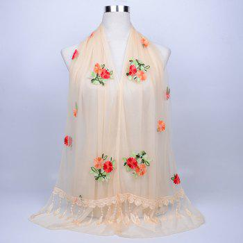 Vintage Floral Embroidery Lace Tassel Shawl Scarf - PALOMINO PALOMINO