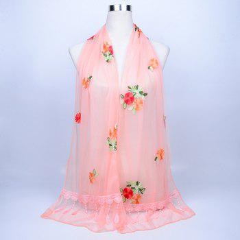 Vintage Floral Embroidery Lace Tassel Shawl Scarf - STRIPE PATTERN RED COLOR STRIPE PATTERN RED COLOR