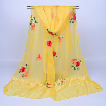 Vintage Floral Embroidery Lace Tassel Shawl Scarf -  LIGHT YELLOW