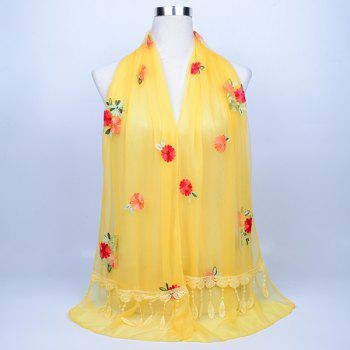 Vintage Floral Embroidery Lace Tassel Shawl Scarf - LIGHT YELLOW LIGHT YELLOW