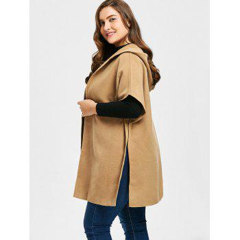 Plus Size Faux Suede Hooded Poncho Coat - CAMEL CAMEL