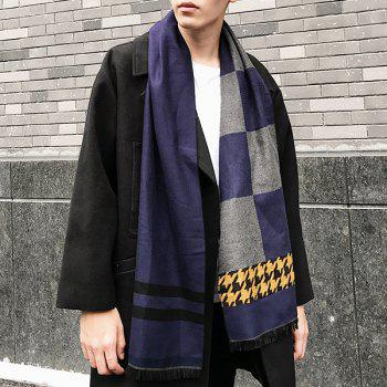 Checked and Houndstooth Pattern Fringed Scarf -  DEEP BLUE