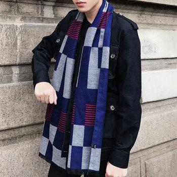 Checked Pattern Color Block Fringed Scarf - DEEP BLUE DEEP BLUE