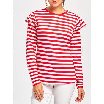 Ruffle Embellished Long Sleeve T-shirt - RED RED