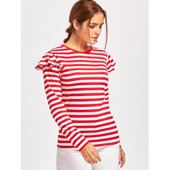 Ruffle Embellished Long Sleeve T-shirt - RED XL