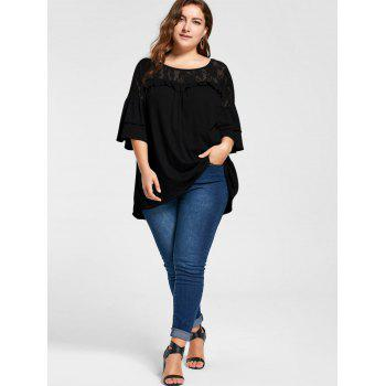 Plus Size Lace Yoke Frill Tunic Top - BLACK XL