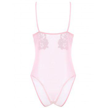 Sheer Mesh Teddy with Flower Applique - LIGHT PINK XL