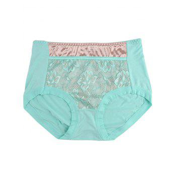Lace Satin Panel Panties - ONE SIZE ONE SIZE
