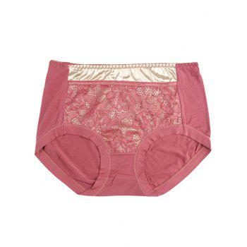 Lace Satin Panel Panties - RUSSET-RED ONE SIZE