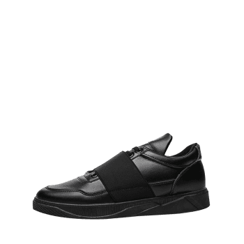 Elastic Band Slip On Faux Leather Casual Shoes - BLACK 42