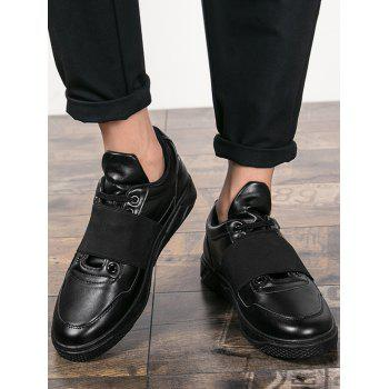 Elastic Band Slip On Faux Leather Casual Shoes - 43 43