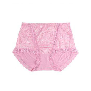 Lace Front Full Coverage Panties - PINK PINK