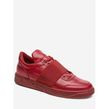 Elastic Band Slip On Faux Leather Casual Shoes - RED 44