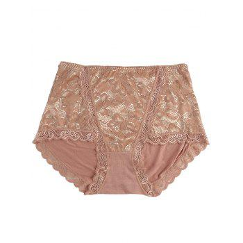 Lace Front Full Coverage Panties - COFFEE COFFEE