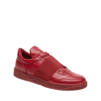 Elastic Band Slip On Faux Leather Casual Shoes - RED 40