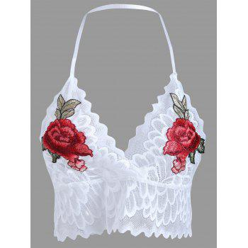 Lace Scalloped Embroidered Bralette - WHITE S