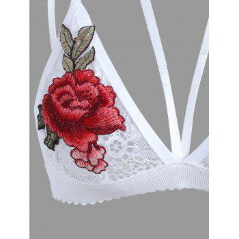 Plunge Lace Embroidered Bralette - WHITE M
