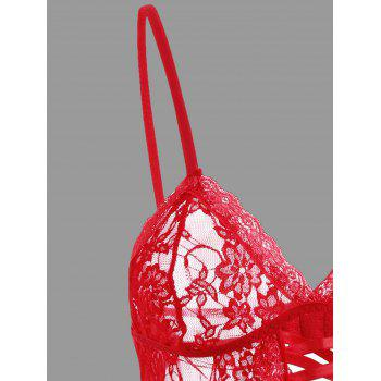 Lace See Through Cami Garter Set - RED S