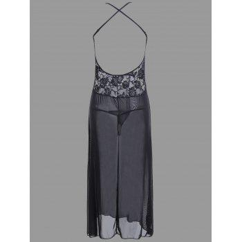 Lace Long Crossback Sheer Slip Babydoll - BLACK L
