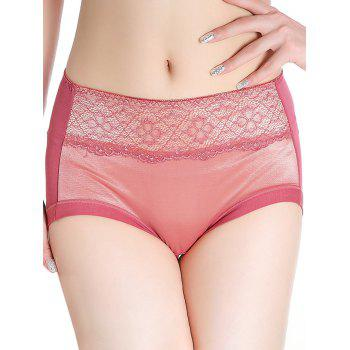 Lingerie Panties with Mesh - RUSSET-RED ONE SIZE