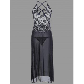 Lace Long Crossback Sheer Slip Babydoll - BLACK XL