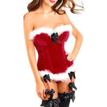 Faux Fur Trim Christmas Corset Top