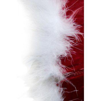 Faux Fur Trim Christmas Corset Top - RED RED