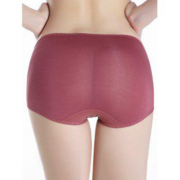 Mesh Panel Full Coverage Panties - RUSSET RED ONE SIZE