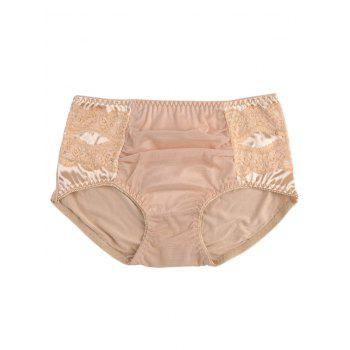 Mesh Panel Full Coverage Panties - COMPLEXION ONE SIZE