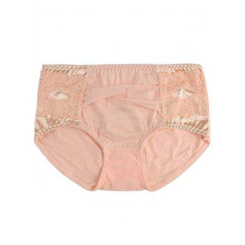 Mesh Panel Full Coverage Panties - LIGHT ORANGE ONE SIZE