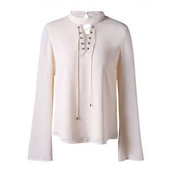 Mock Neck Lace Up Blouse - OFF-WHITE OFF WHITE