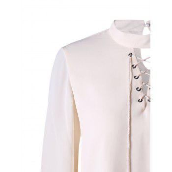 Mock Neck Lace Up Blouse - OFF WHITE OFF WHITE