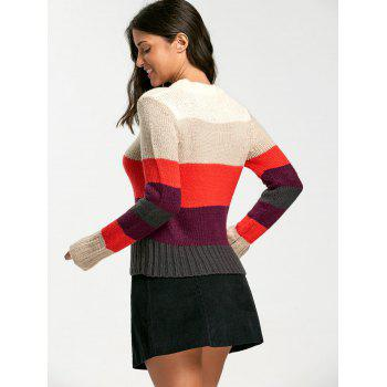 Color Blocking Crew Neck Sweater - ONE SIZE ONE SIZE
