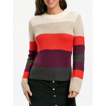 Color Blocking Crew Neck Sweater - COLORMIX ONE SIZE
