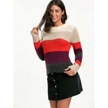Color Blocking Crew Neck Sweater - COLORMIX COLORMIX