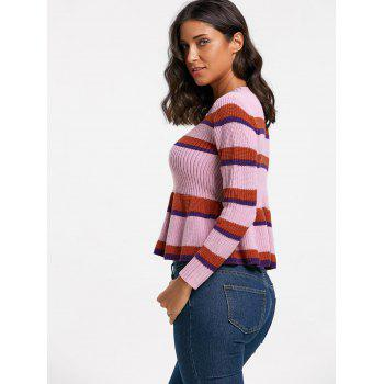 Crew Neck Striped Peplum Sweater - COLORMIX ONE SIZE